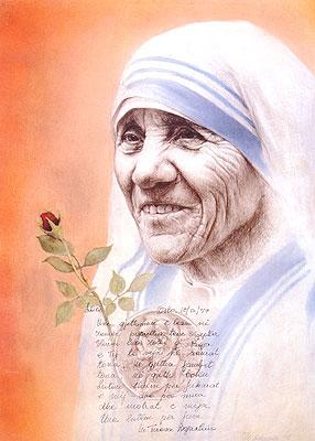 Portrait of Mother Theresa, by Musa Kalaveshi